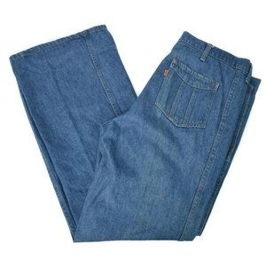Vtg 1970s Levis Orange Tab Flare Blue Jeans 38x30